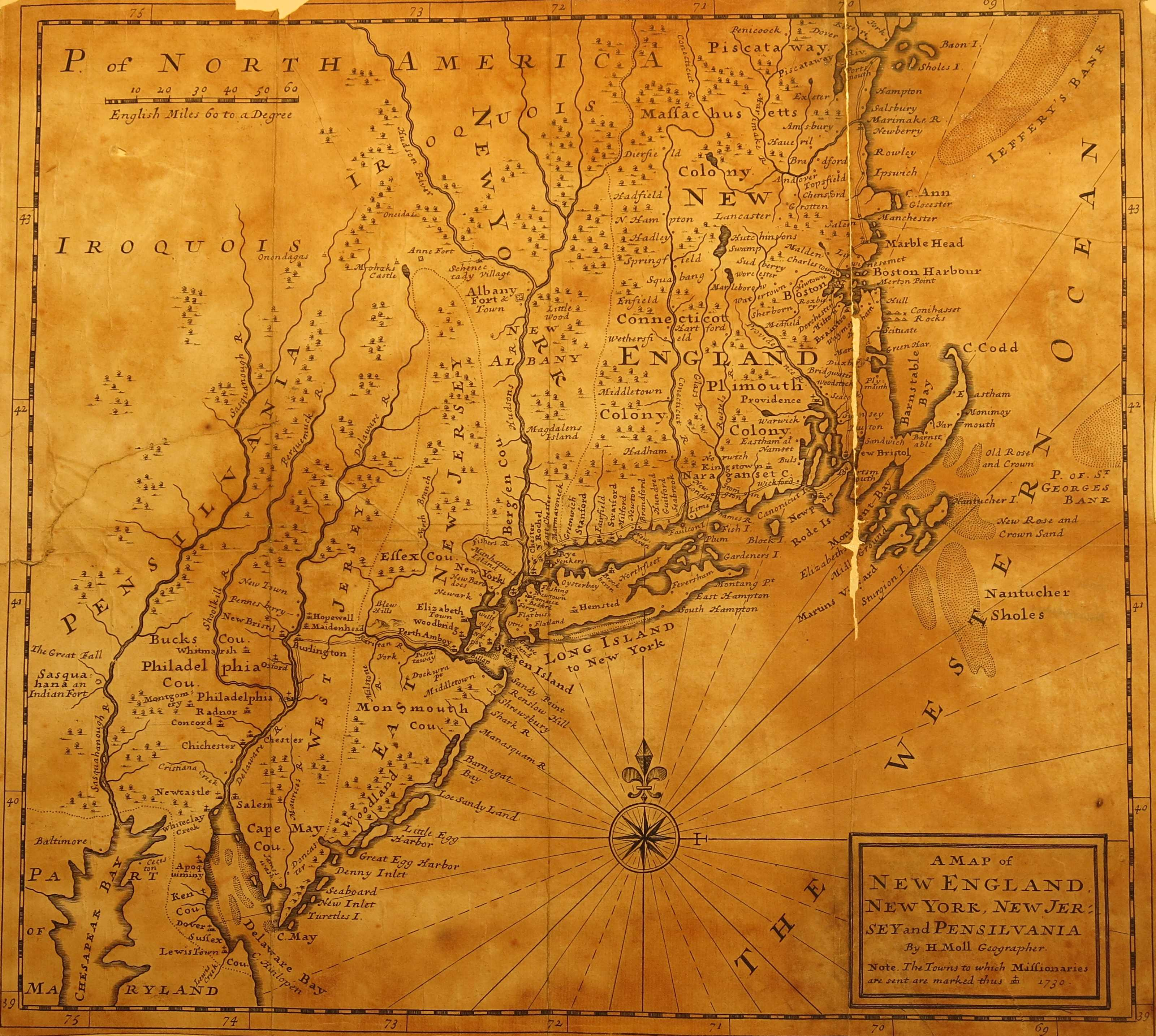 ... A MAP OF NEW ENGLAND, NEW YORK, NEW JERSEY AND PENSILVANIA BY H. MOLL  GEOGRAPHER. NOTE: THE TOWNS TO WHICH MISSIONARIES ARE SENT ARE MARKED THUS  + 1730.