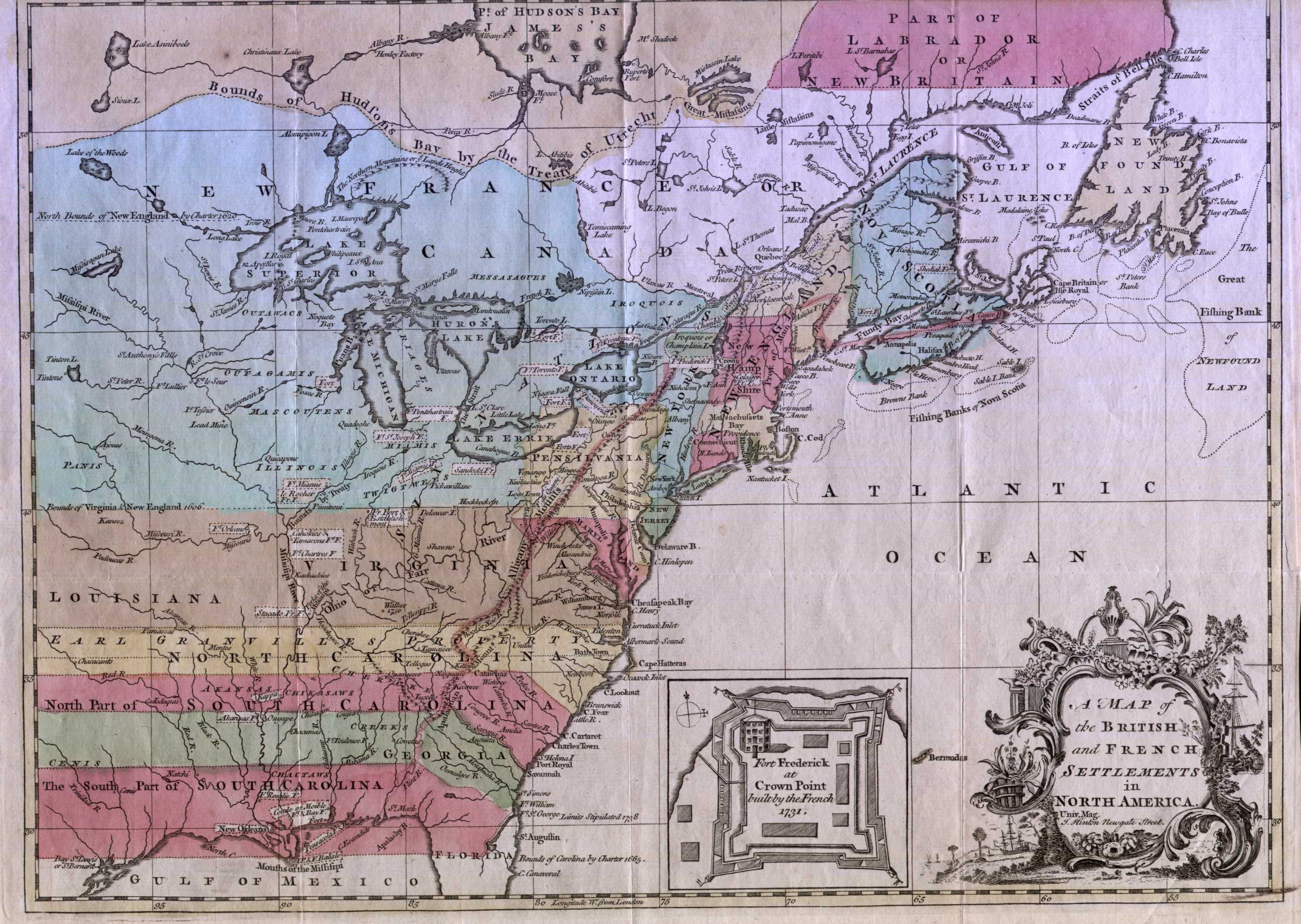 North America Political Outline Map%0A         A MAP OF THE BRITISH AND FRENCH SETTLEMENTS IN NORTH AMERICA  Univ   Mag  J  Hinton Newgate Street  Another map similar to the one above  illustrating