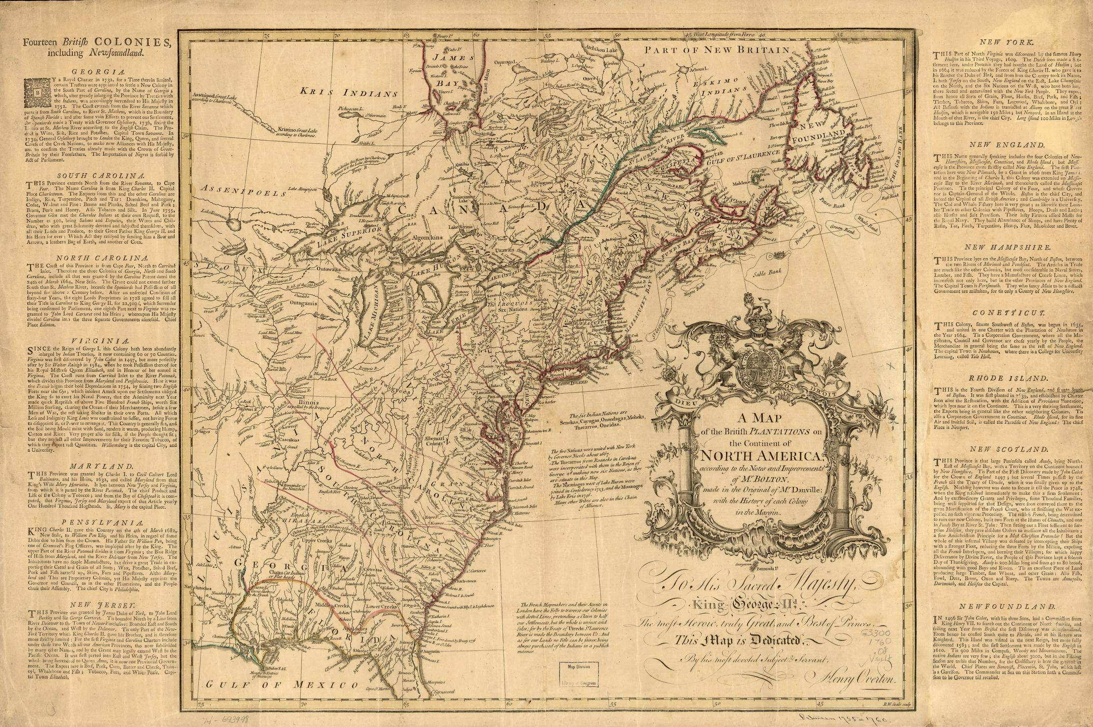 1754 5 A Map Of The British Plantations On The Continent Of North America According To The Notes And Improvements Of Mr Bolton Made In The Original Of