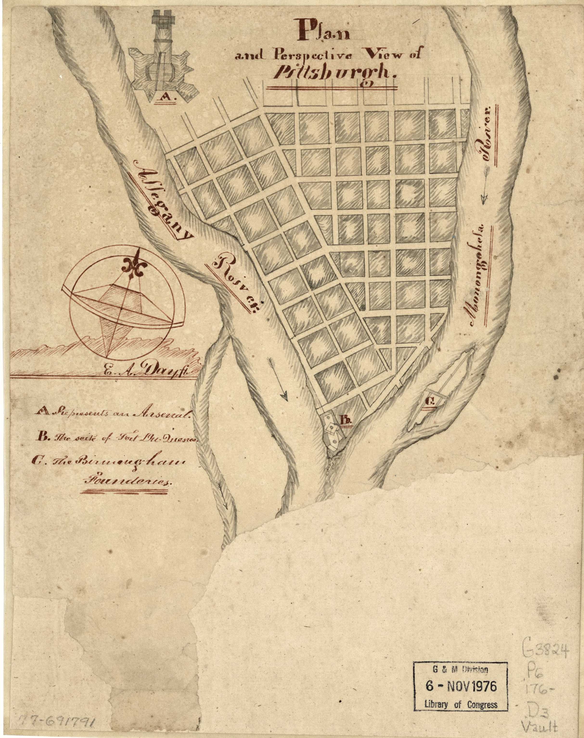 1760.2 A PLAN AND PERSPECTIVE VIEW OF PITTSBURGH. E. A. Day. This is a  manuscript map of uncertain date; Sellers & van Ee (#1330) place it circa  1760s.