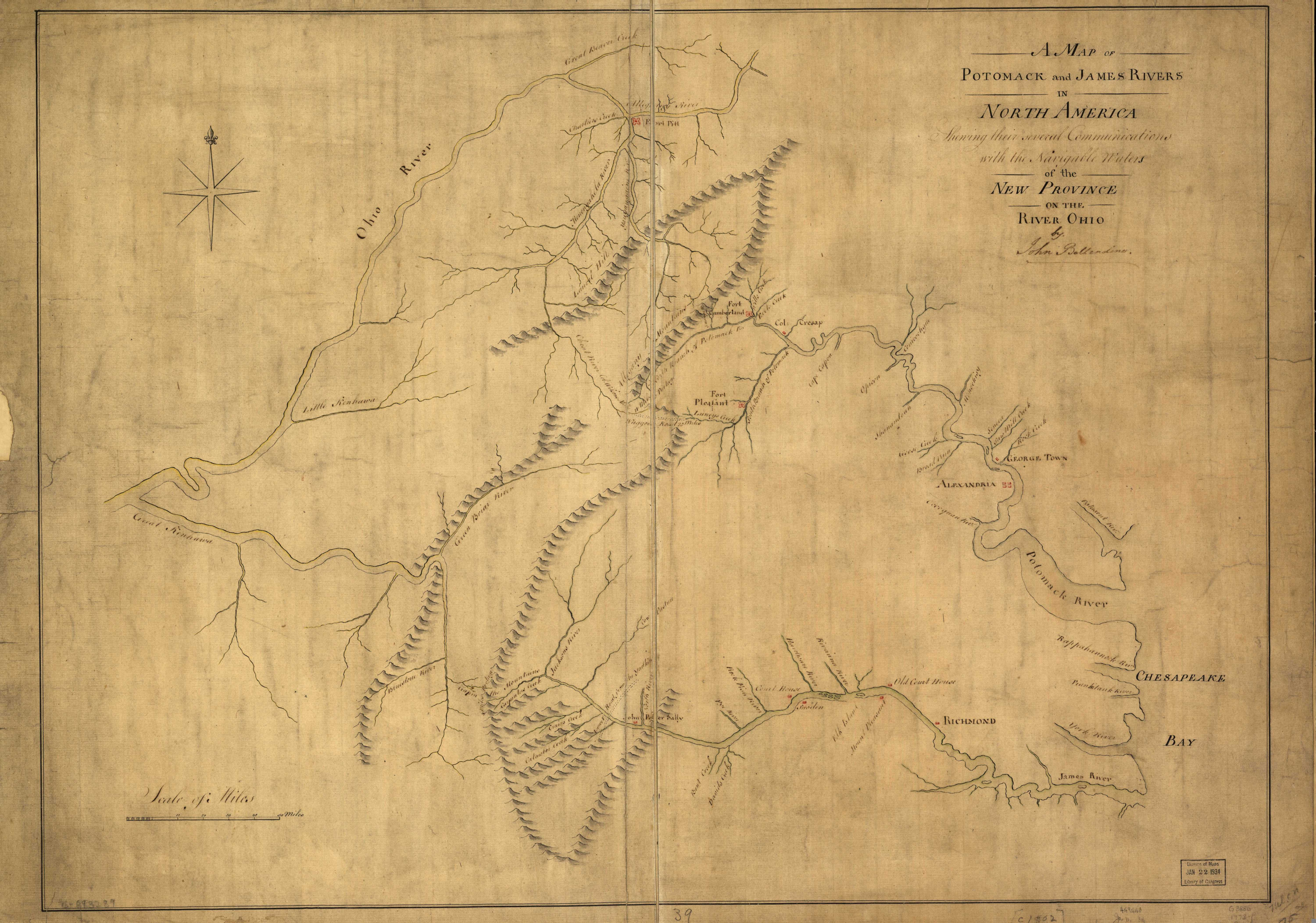1770 to 1774 pennsylvania maps 17733 a map of potomack and james rivers in north america shewing their several communications with the navigable waters of the new province on the river freerunsca Image collections