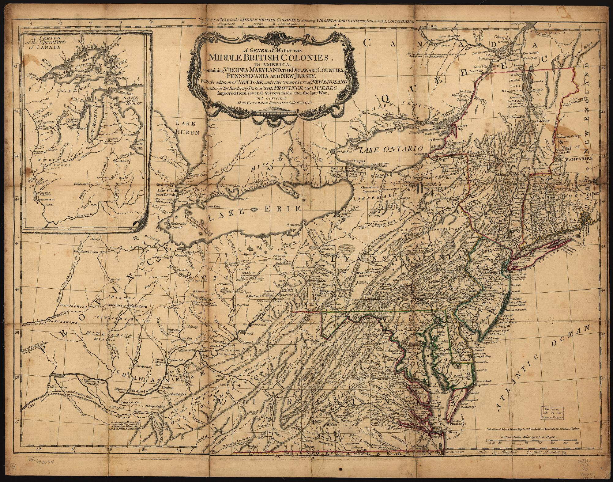 Map Of New York 1776.1775 To 1779 Pennsylvania Maps