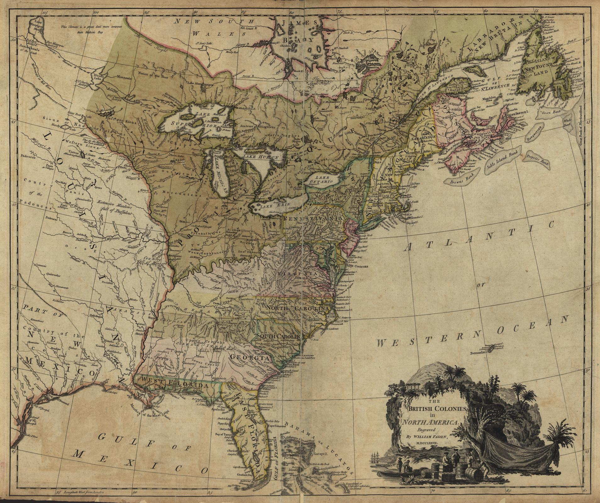 To Pennsylvania Maps - Map of us in 1776