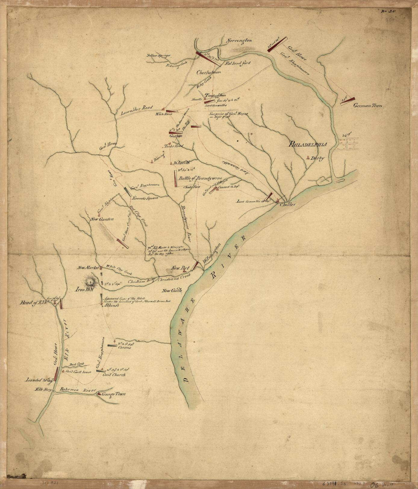 Roadmap Of The Us%0A          Philadelphia area  An untitled and undated manuscript map showing  the operations of the British army in their march on Philadelphia