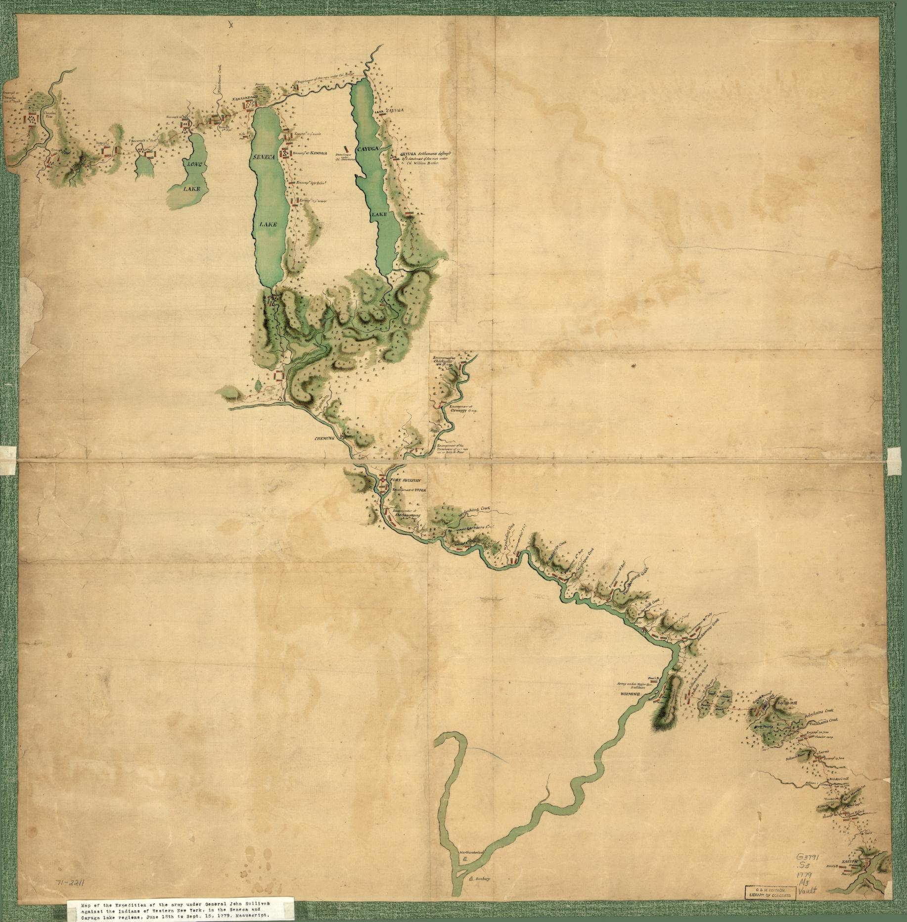 North America Political Outline Map%0A SULLIVAN u    S MARCH FROM EASTON TO THE SENACA  u     CAYUGA COUNTRIES  This  untitled and anonymous manuscript map bears this pasted on title given by  the Library of