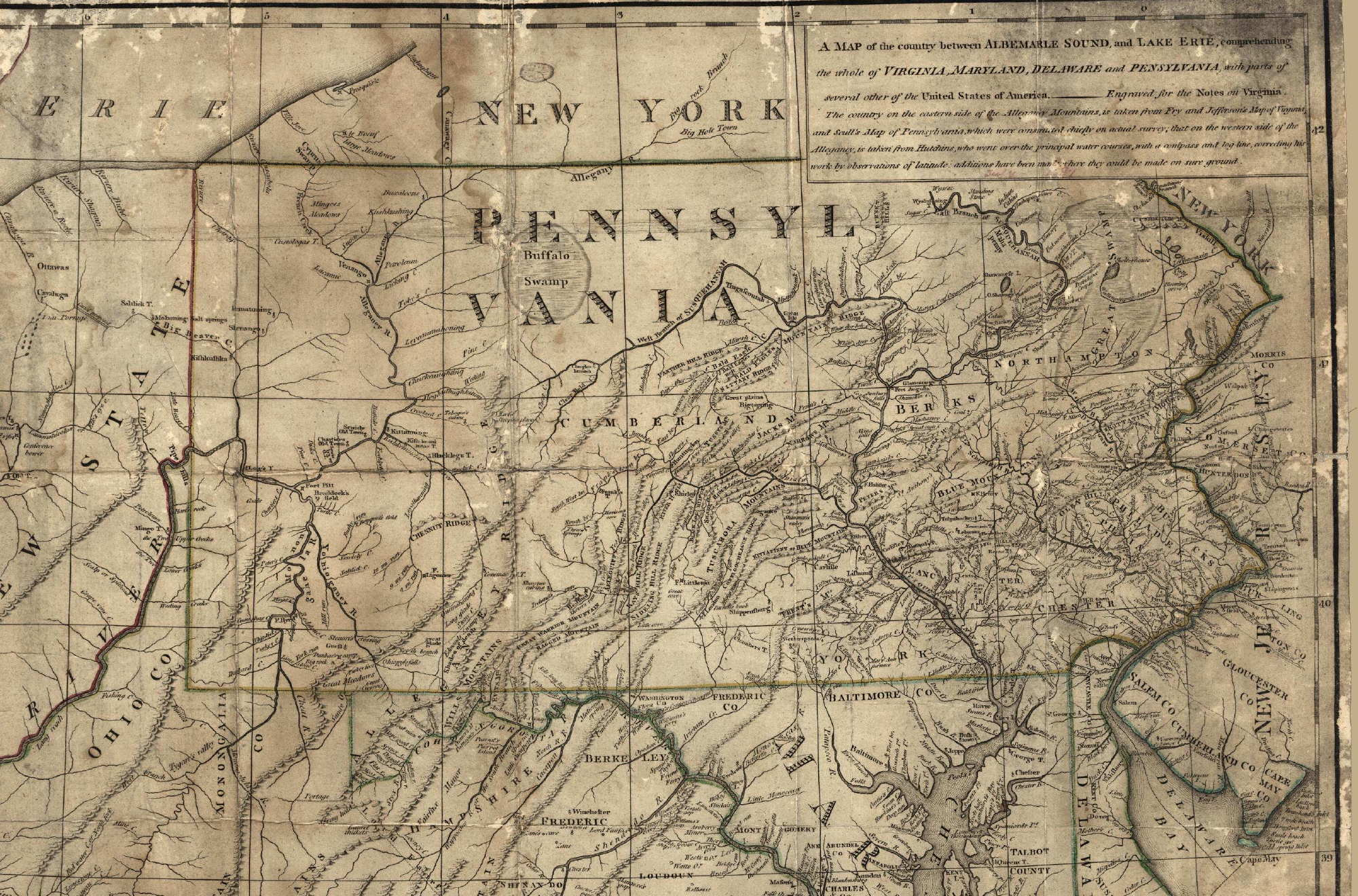 1787 8 a map of the country between albemarle sound and lake erie comprehending the whole of virginia maryland delaware and pensylvania with parts of