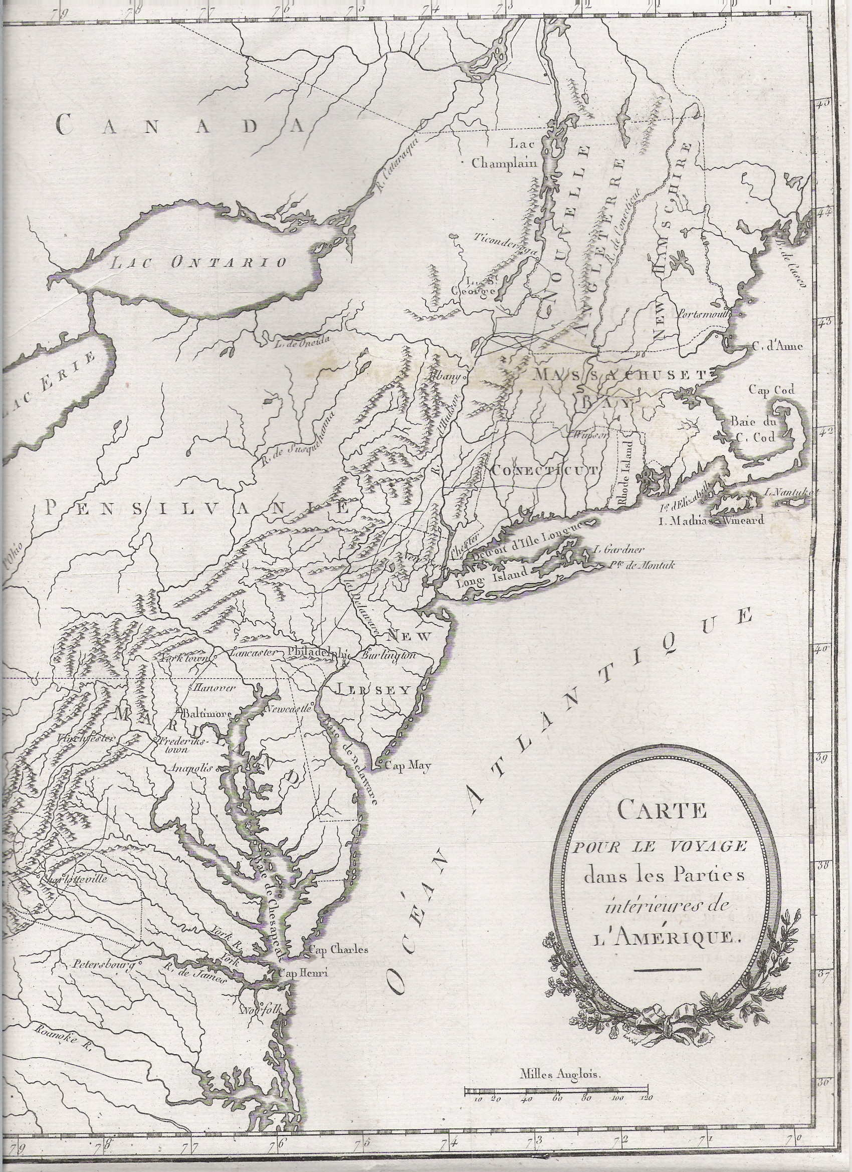This map is from Voyages dans les parties interieurs de l'Amerique by  Thomas Anburey, Paris 1790, the French edition ...
