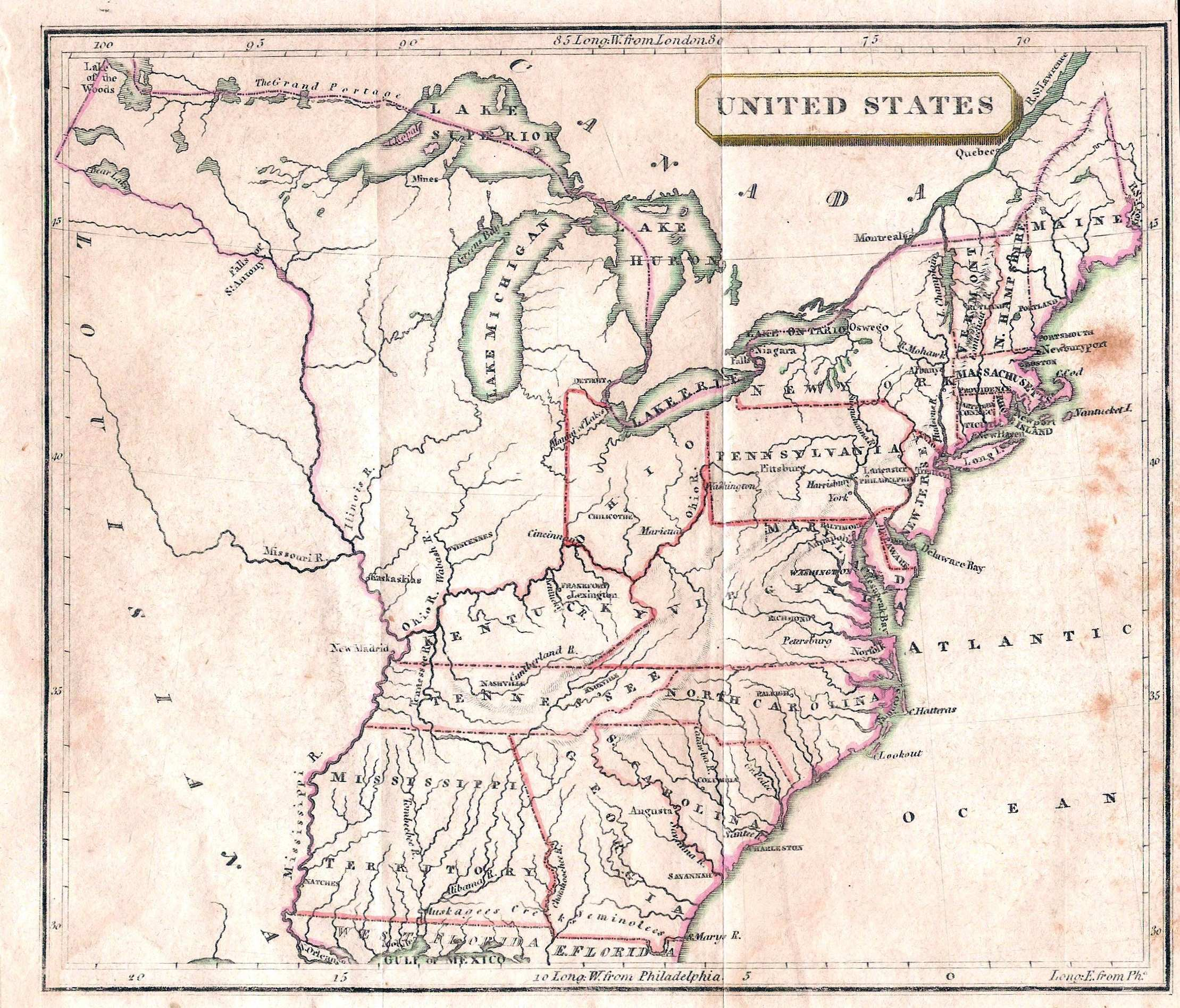 1803 3 united states this anonymous and undated small map probably dates between 1803 ohio shown as a state and 1812 but not louisiana