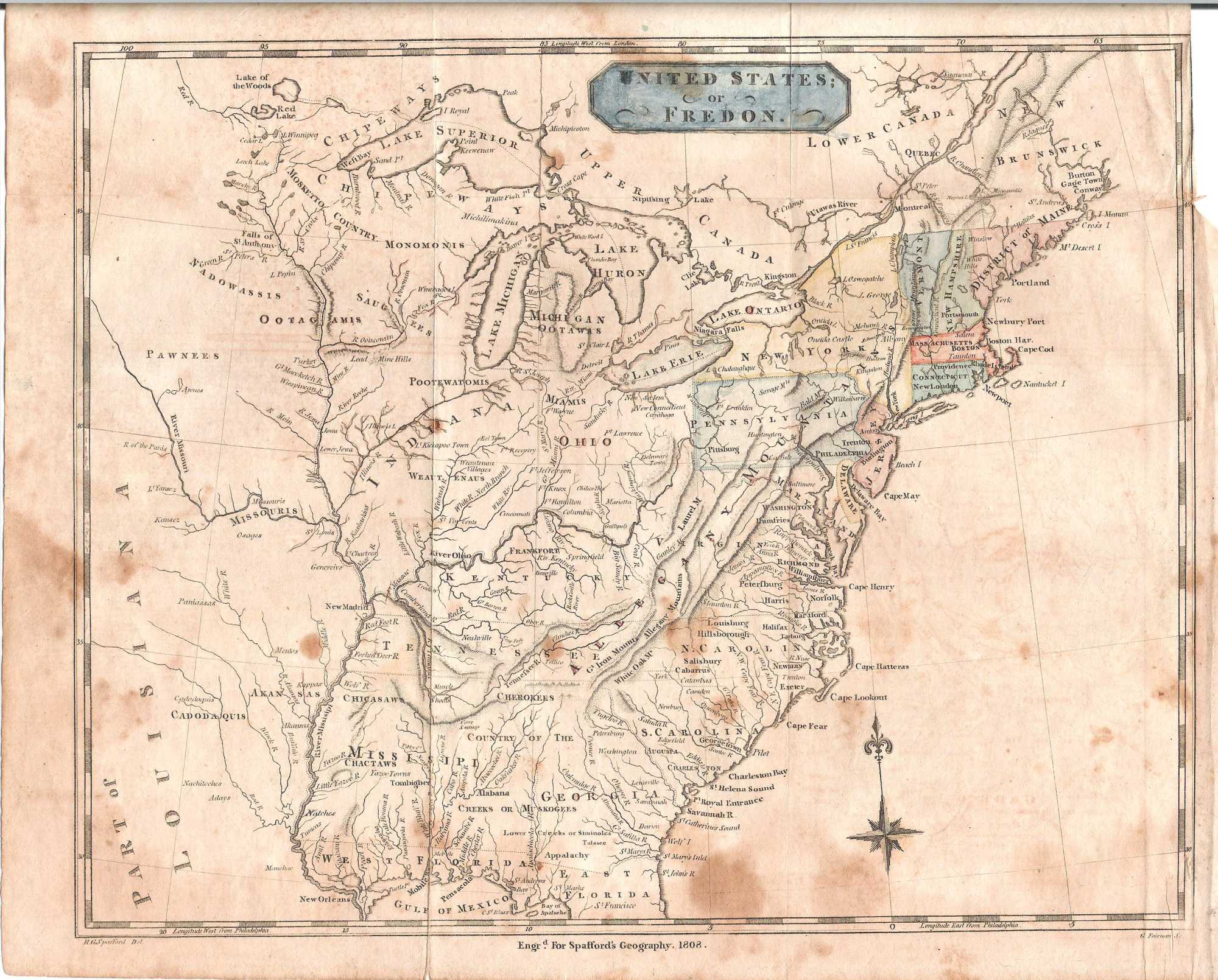 S Pennsylvania Maps - 1808 map of the us