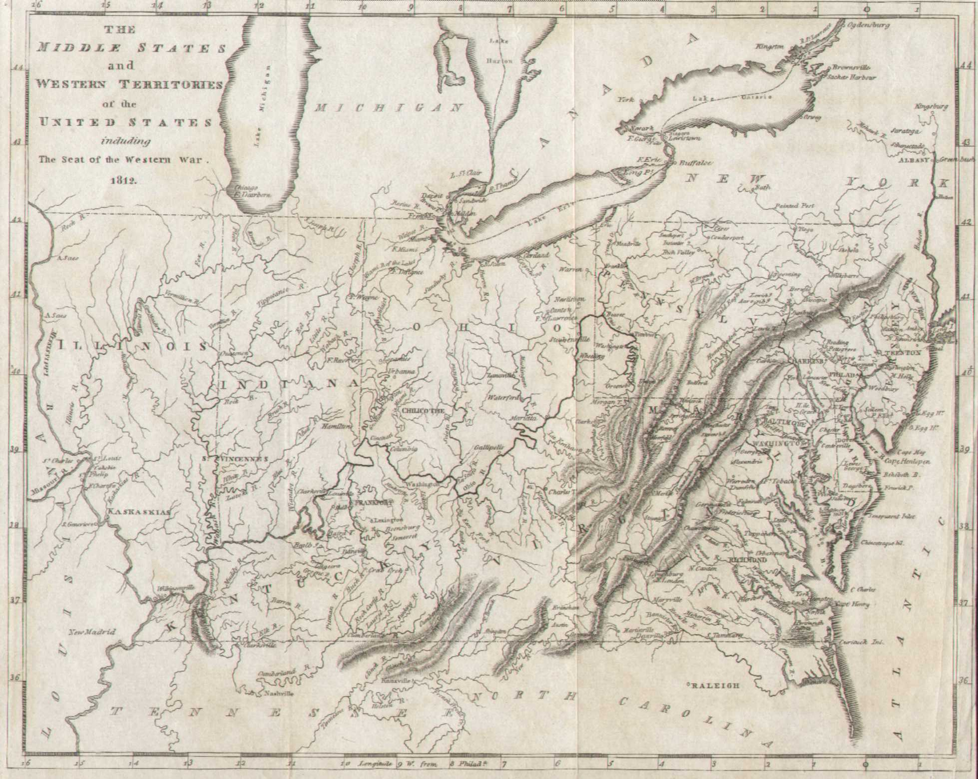 1812 2 The Middle States And Western Territories Of The United States Including The Seat Of The Western War 1812 Like The One Above This Map Is