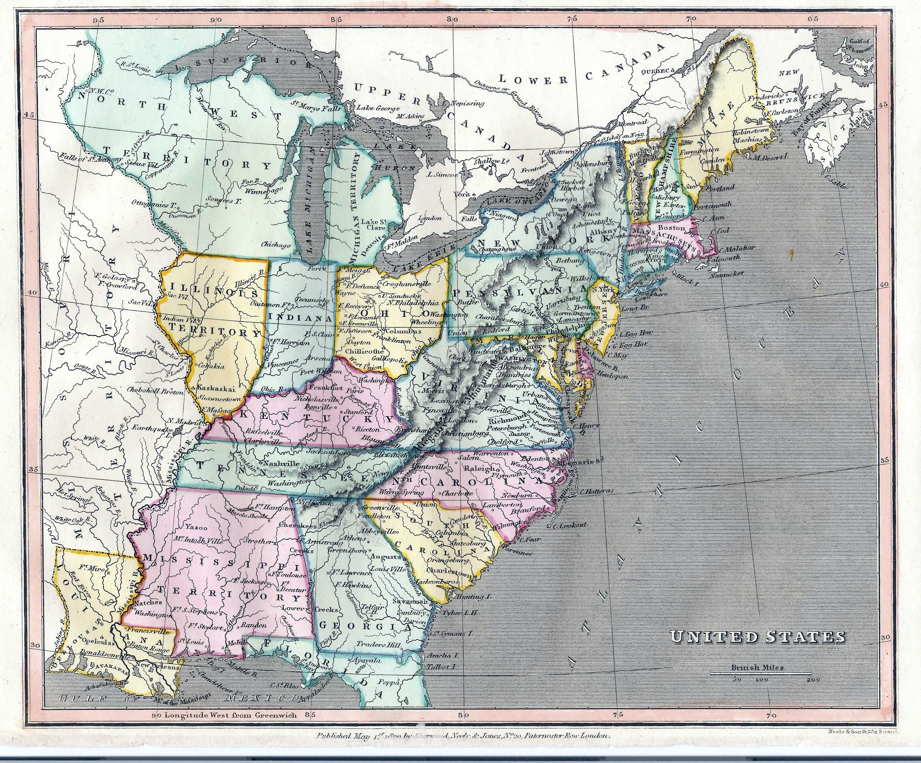 S Pennsylvania Maps - Map of us in 1820