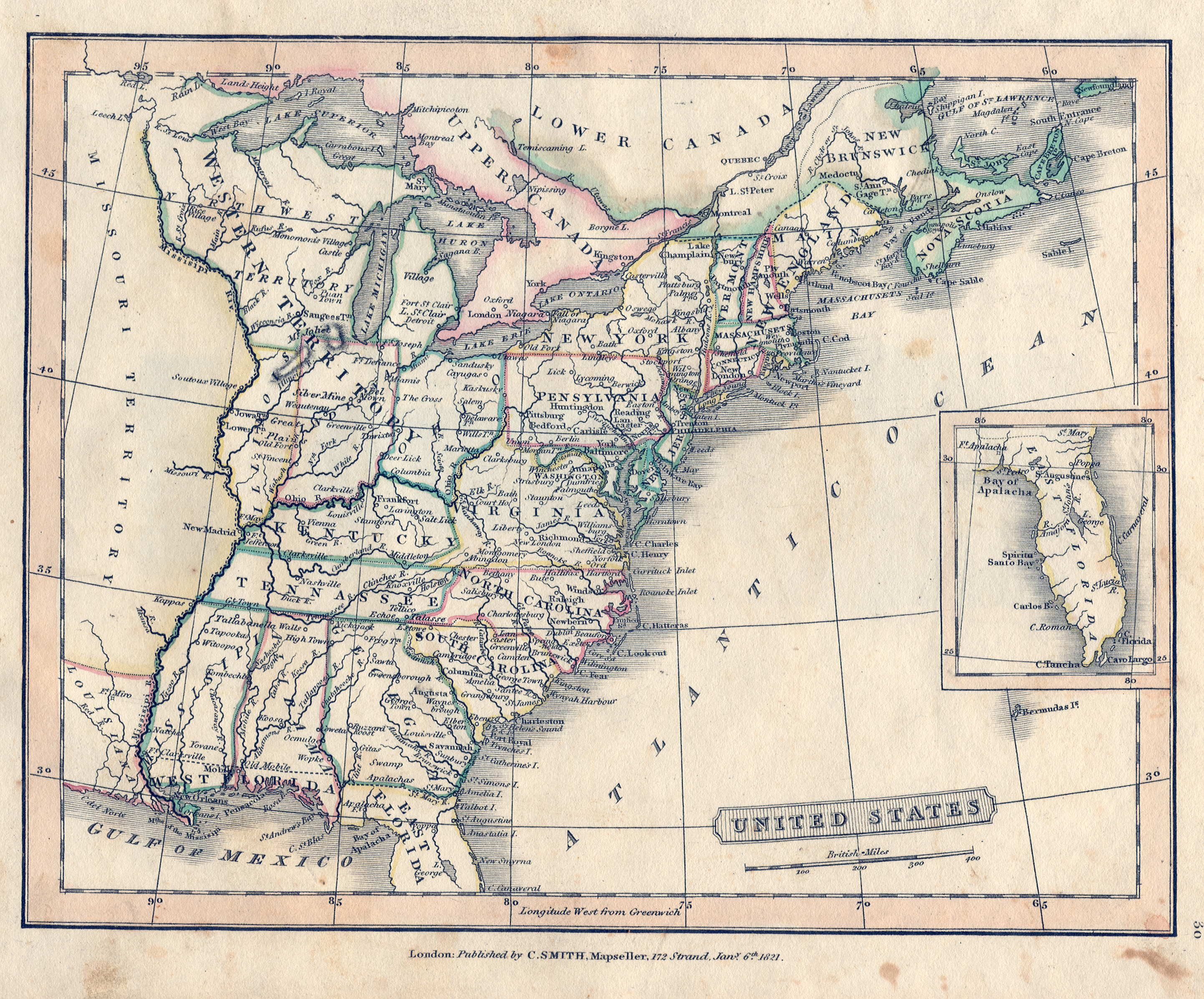 S Pennsylvania Maps - Map of us in 1821