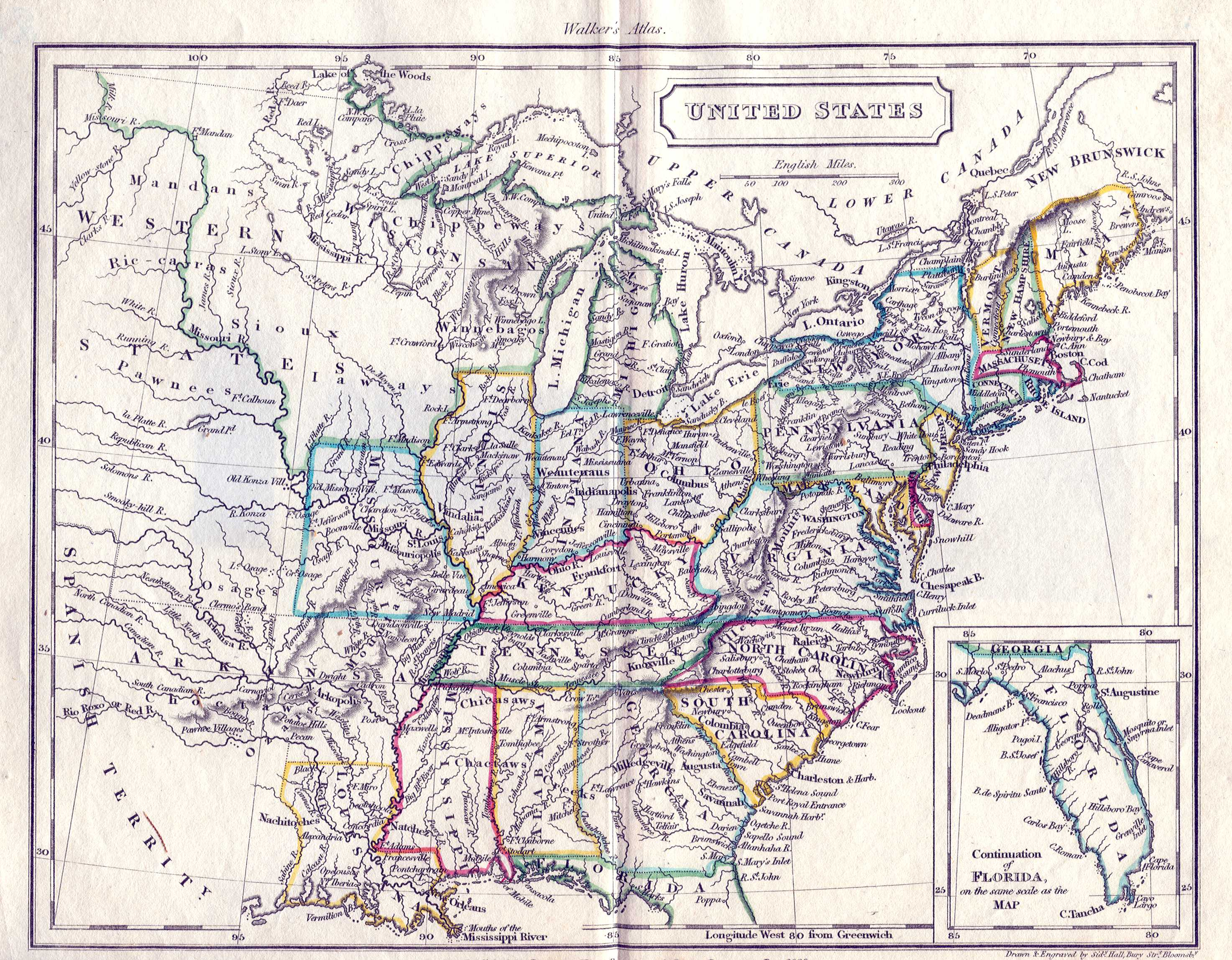 S Pennsylvania Maps - Map of us in 1823