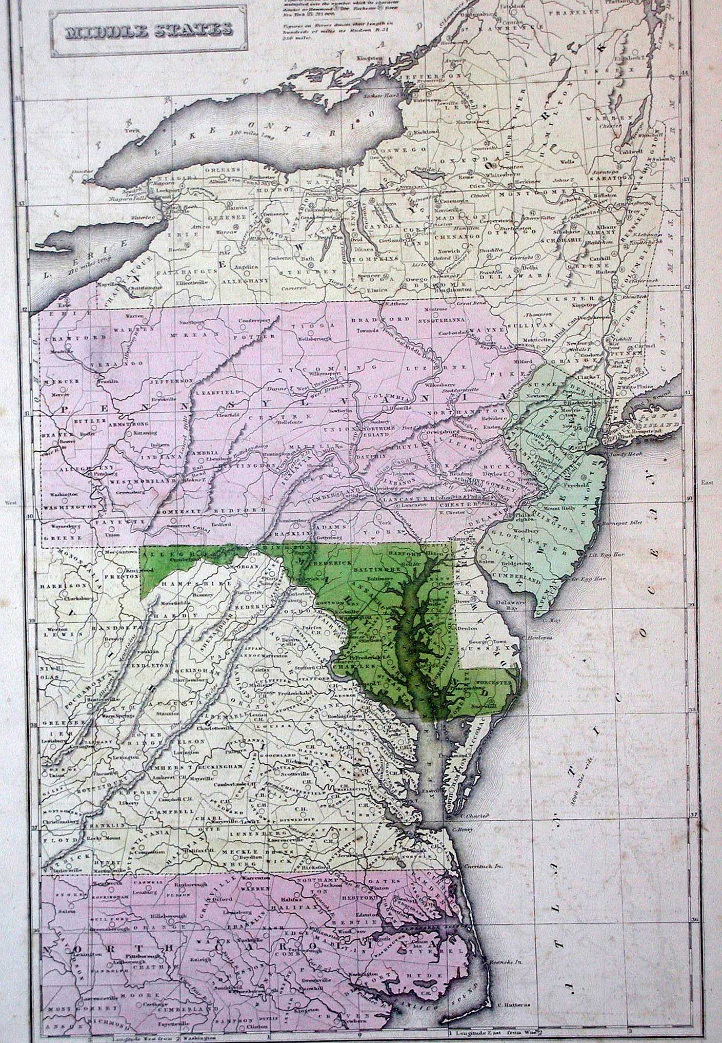 This School Atlas Map Shows Pennsylvania New York New Jersey Maryland Delaware And The Eastern Parts Of Virginia And North Carolina And Is Similar To