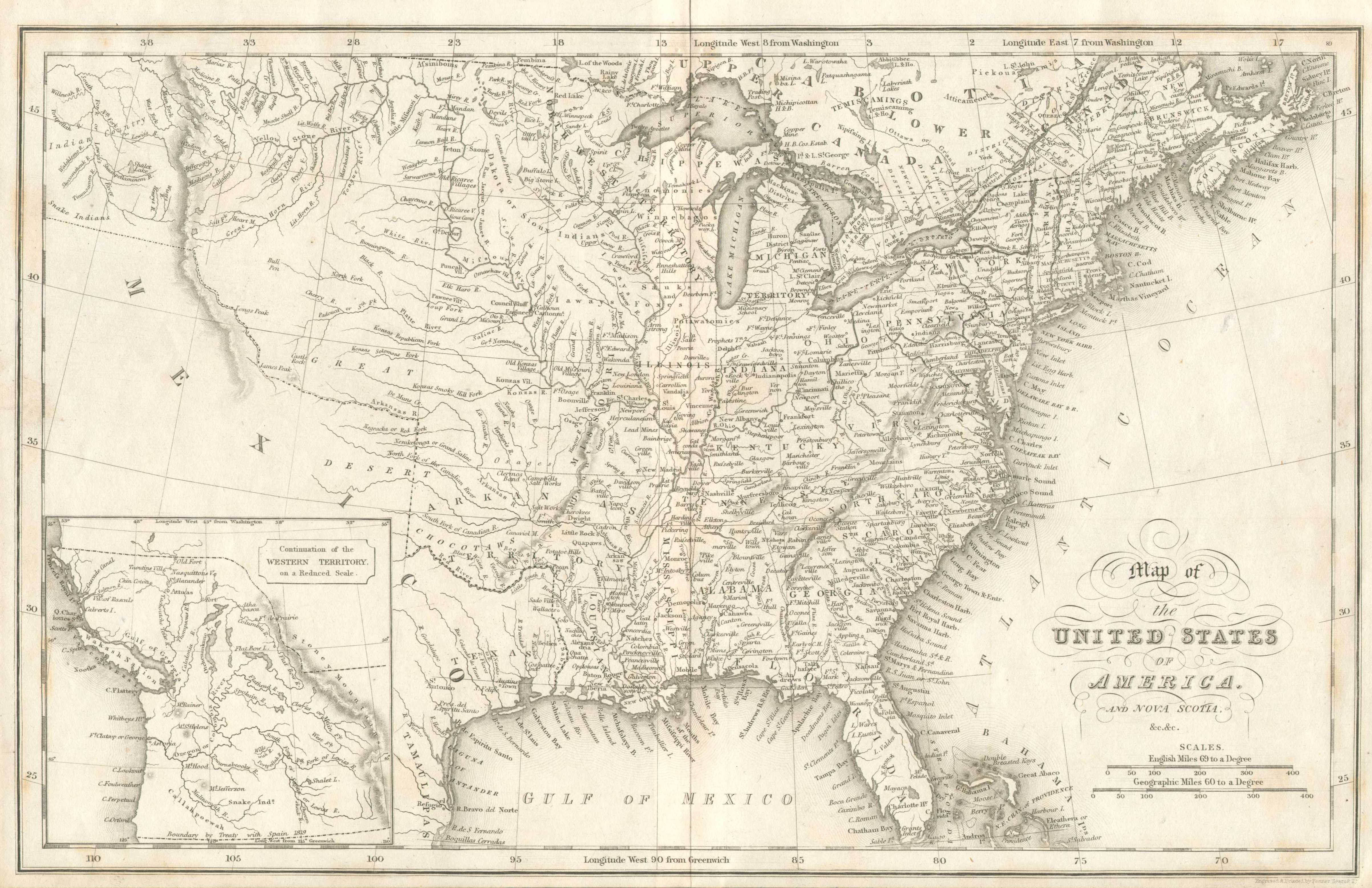 1832 12 map of the united states of america and nova scotia c c engraved printed by fenner sears co this map is almost identical to map 1820 1