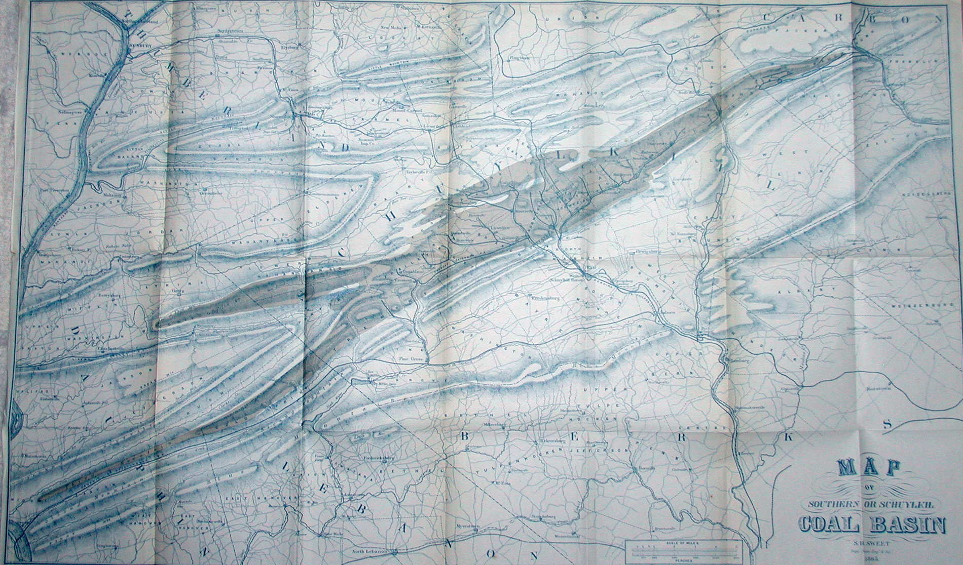 1865 Map Of Southern Or Schuylkil Coal Basin S H Sweet Dept Engr Surr 1865 This Is A Map Of Schuylkill County With Parts Of Northumberland