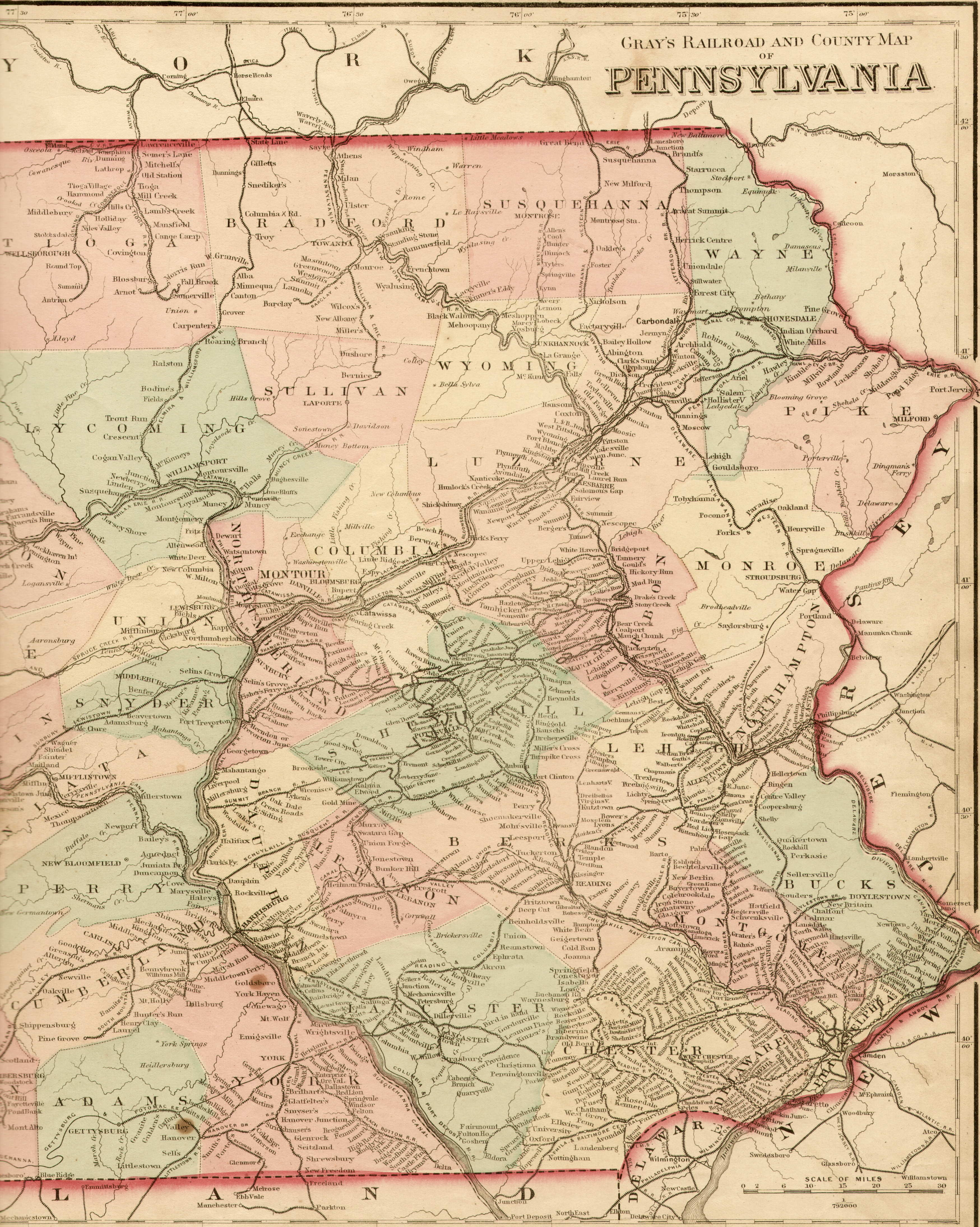 1870's Pennsylvania Maps on railroad map worcester ma, map of breezewood pa, railroad station york pa, railroad map charlotte nc,