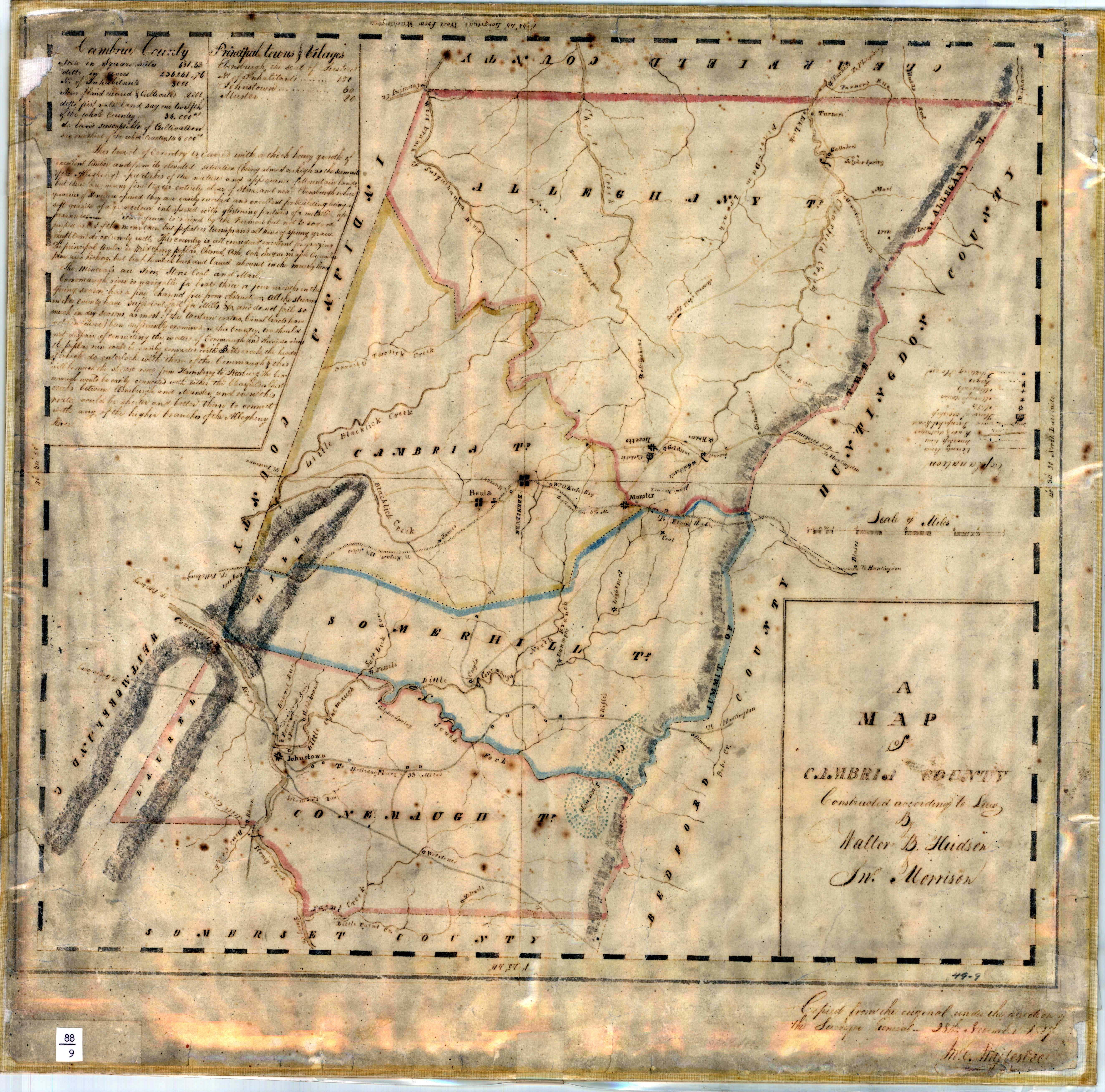 1816 4 The Whiteside Manuscript County Maps Circa 1816 To 1820 To Prepare The 1822 Pennsylvania Map Deputy Surveyors Did Most Of The Work And A Clerk
