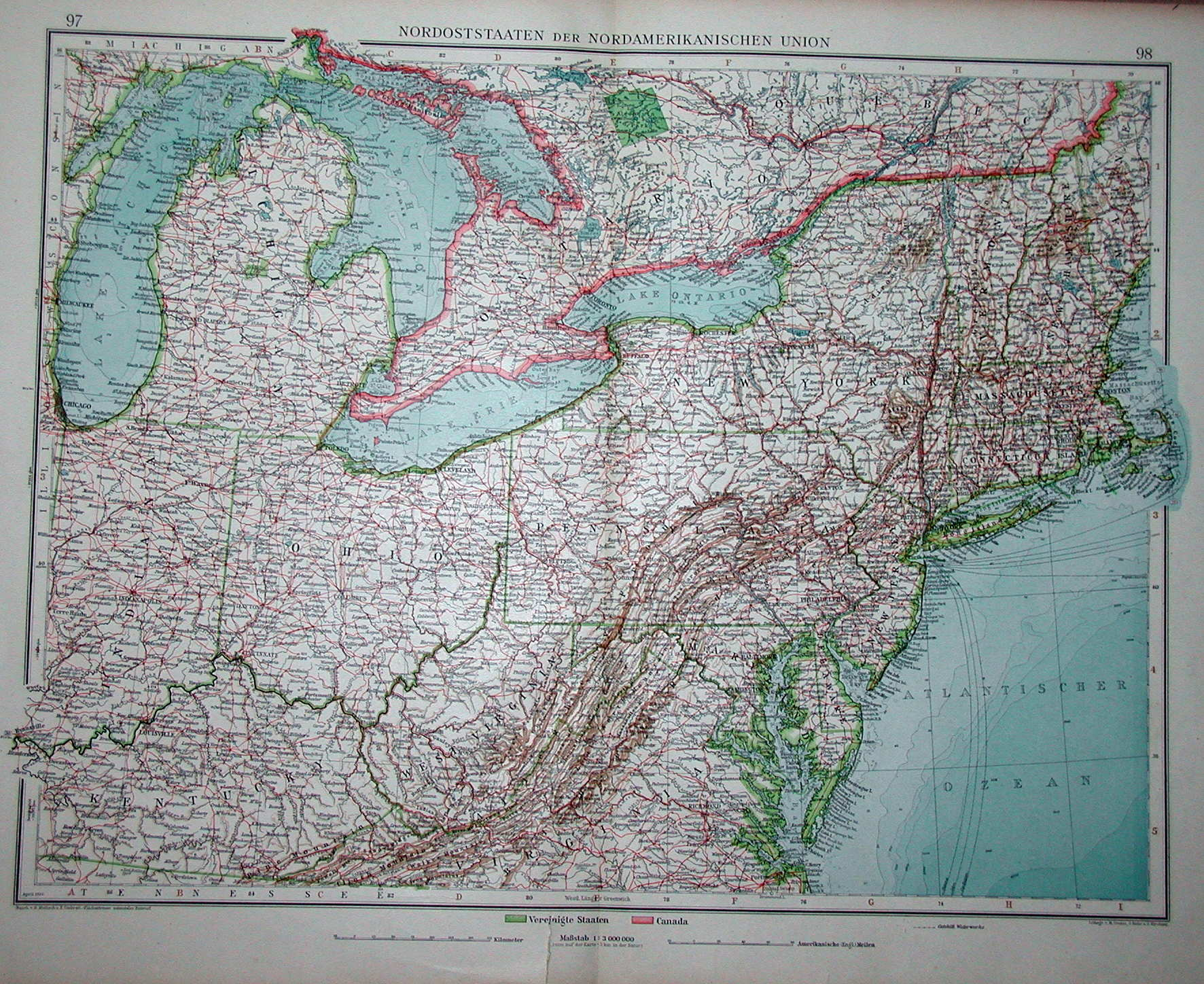 UNITED STATES NORTH EAST New England Appalachia Atlantic States - 1920s north eastern us map