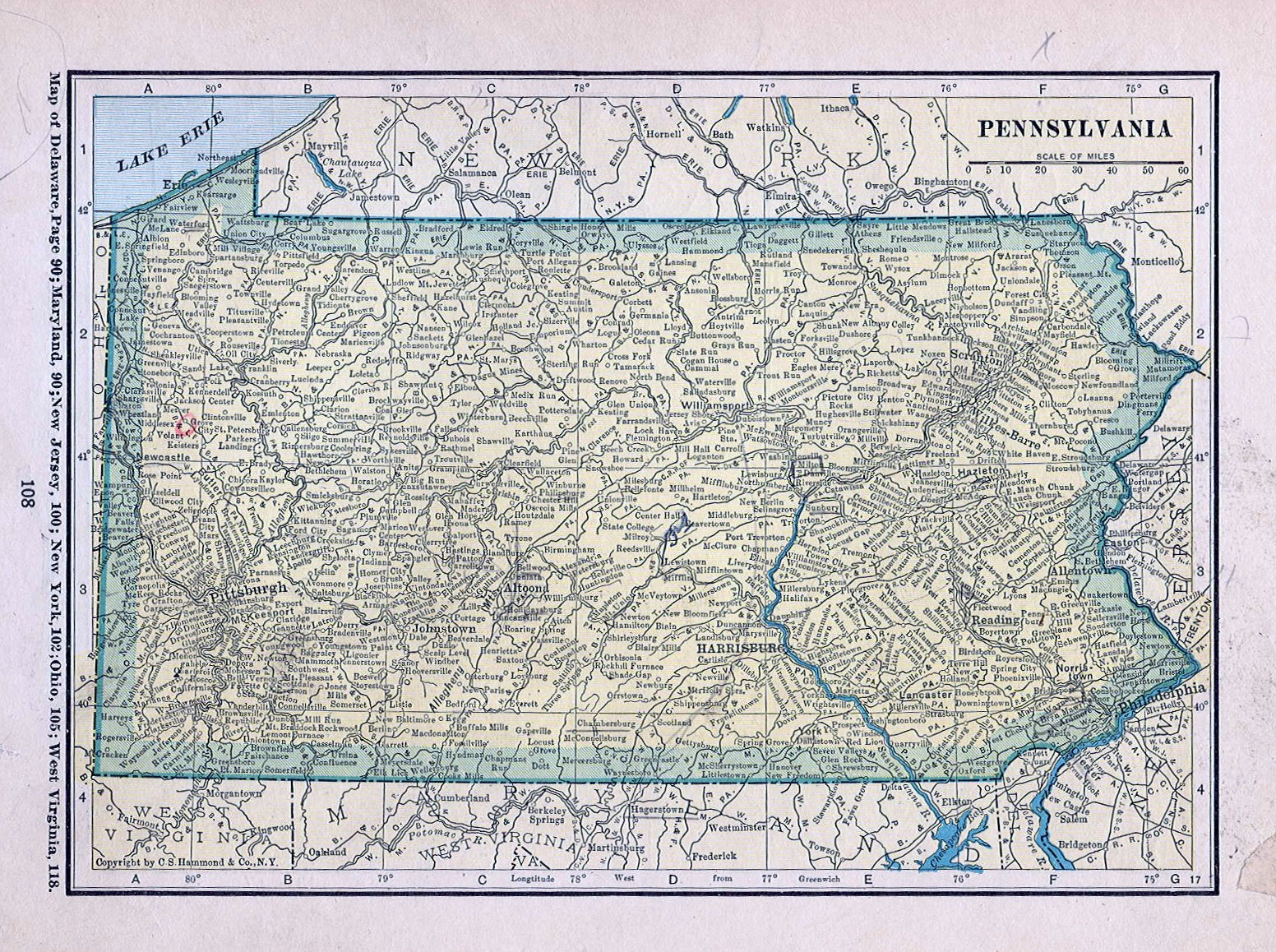 Historical Maps Of Pennsylvania - Road map of pennsylvania