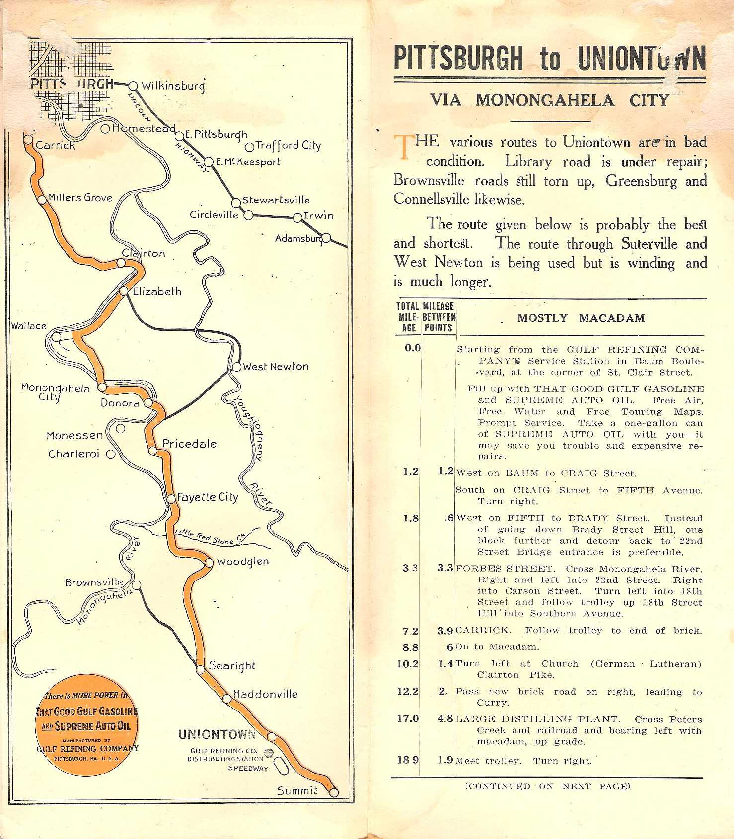 The Early Gulf Road Maps Of Pennsylvania - Road map texas usa