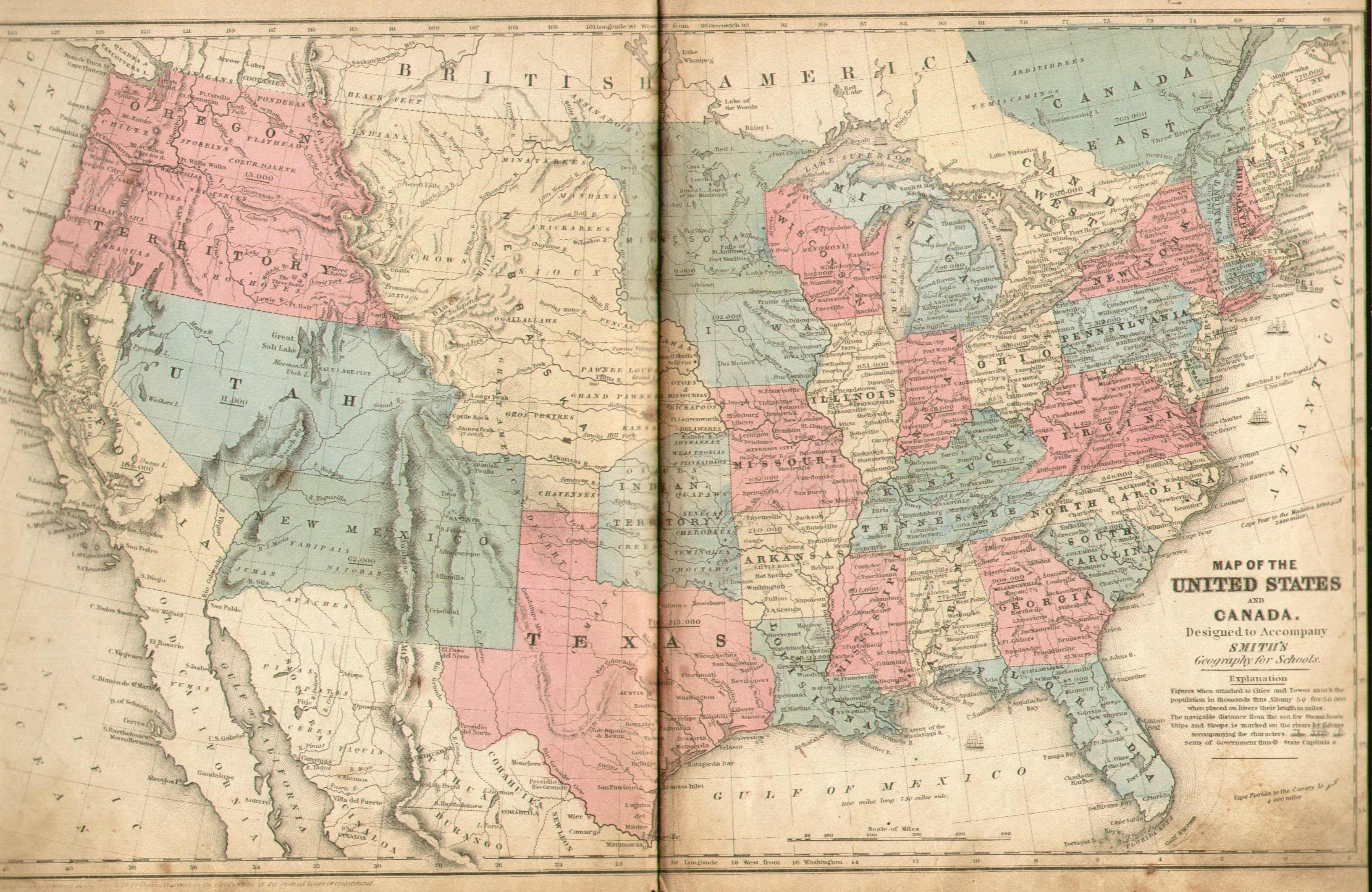 Pennsylvania In Old Geography Books - 1850 map of us