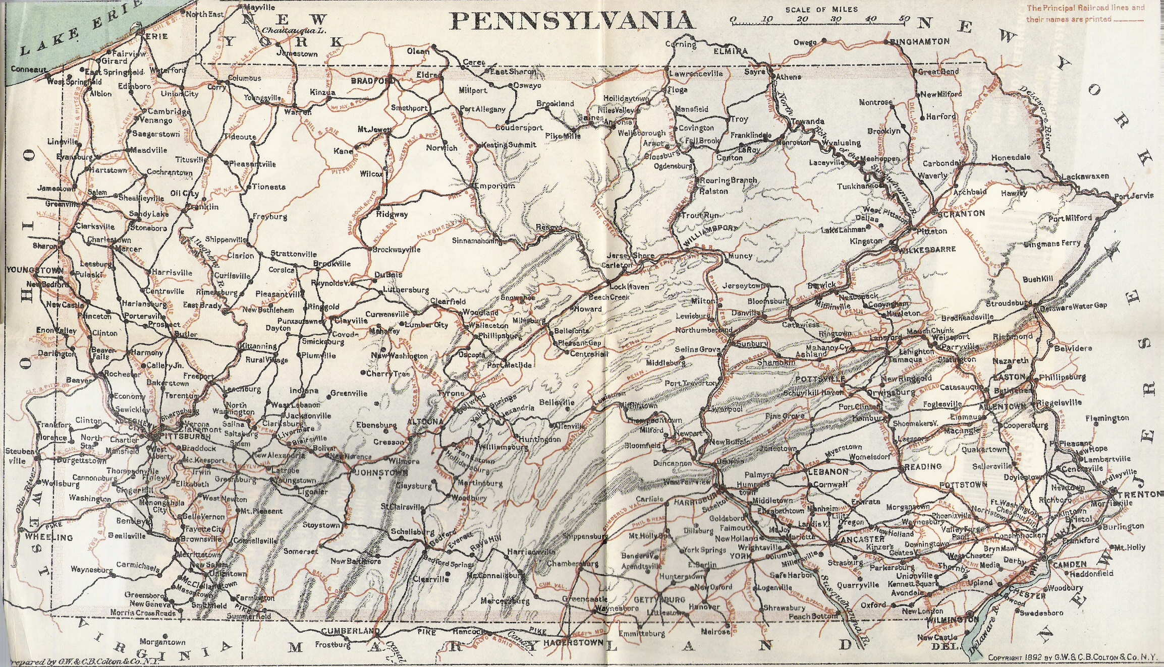 Pennsylvania In Old Road Atlases - Road map of pennsylvania
