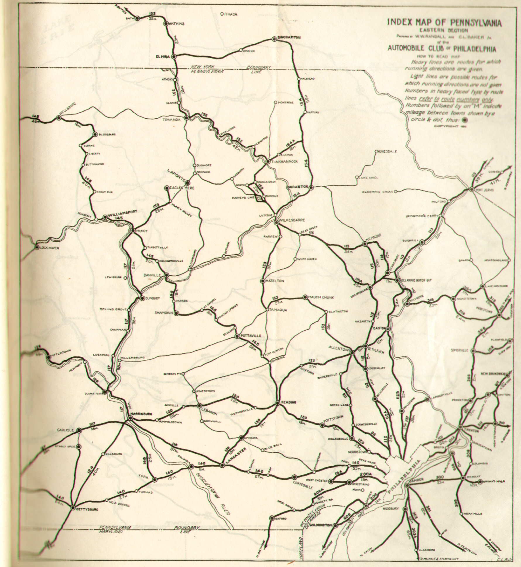 Pennsylvania In Old Road Atlases - Map of western pa