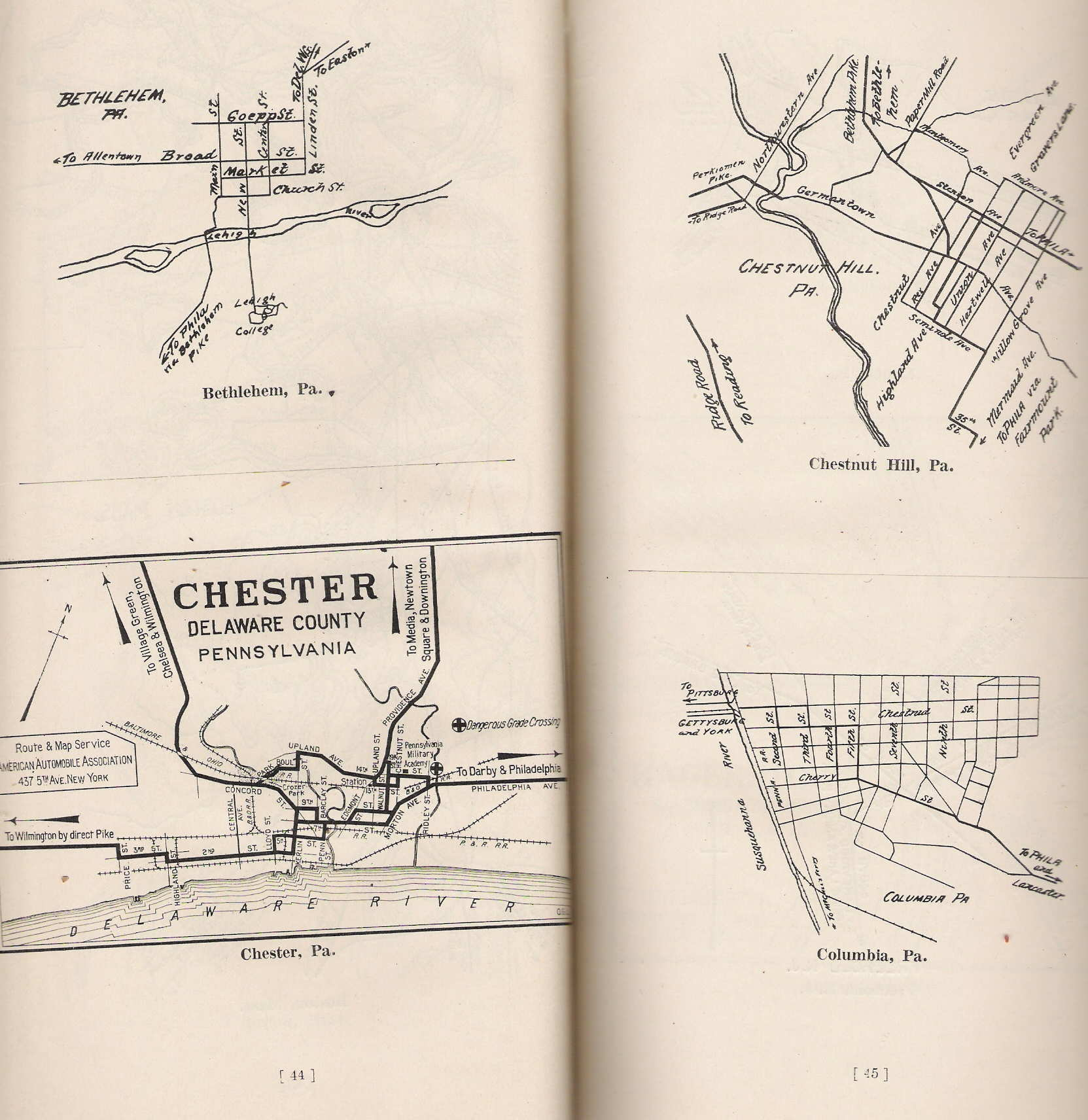 ... The bulk of the book consists of pages of route directions such as pages 140-141 , with routes from Mt. Pocono to Philadelphia and Philadelphia to ...