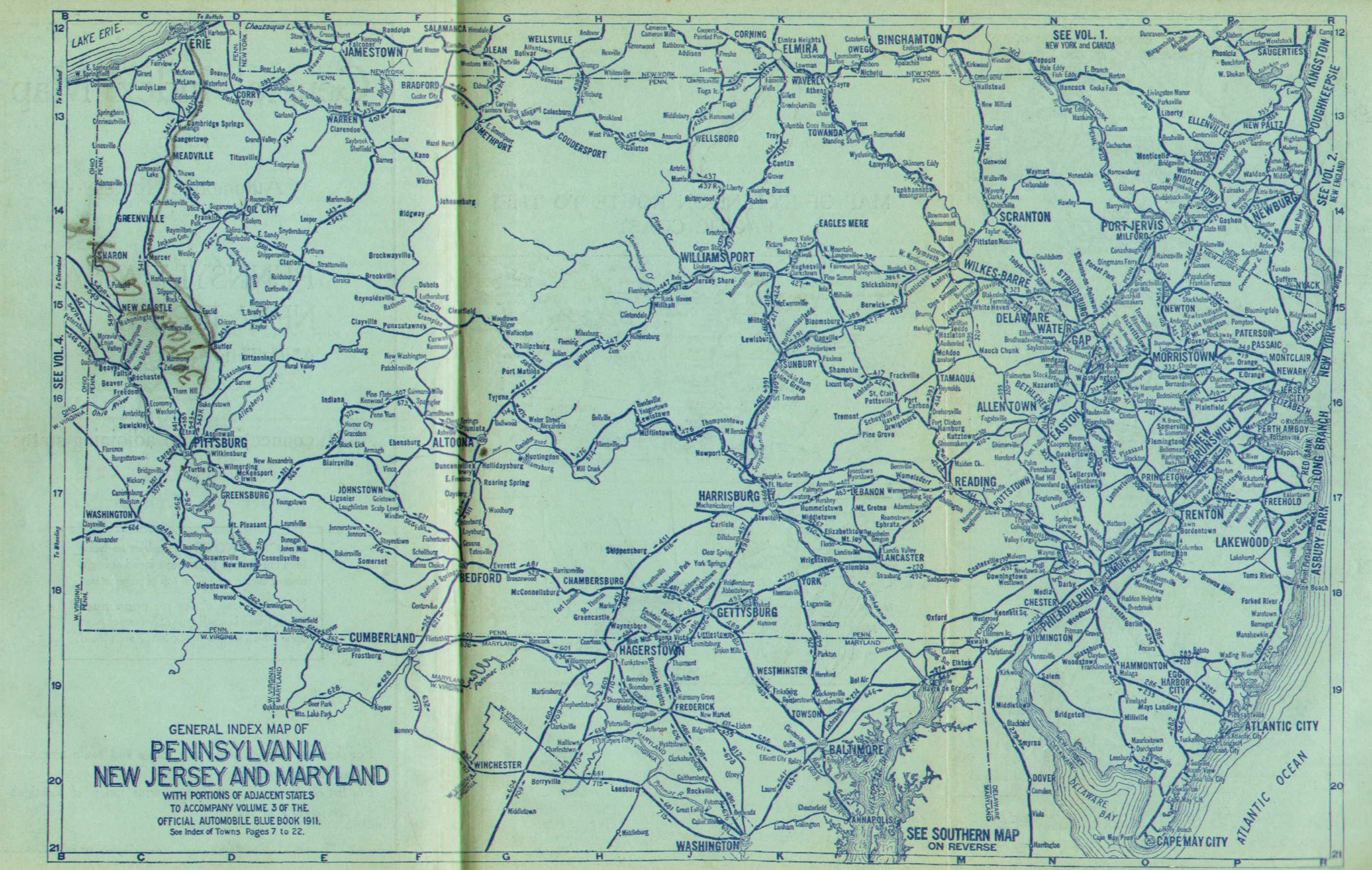 Pennsylvania in Old Road Atlases 19111920