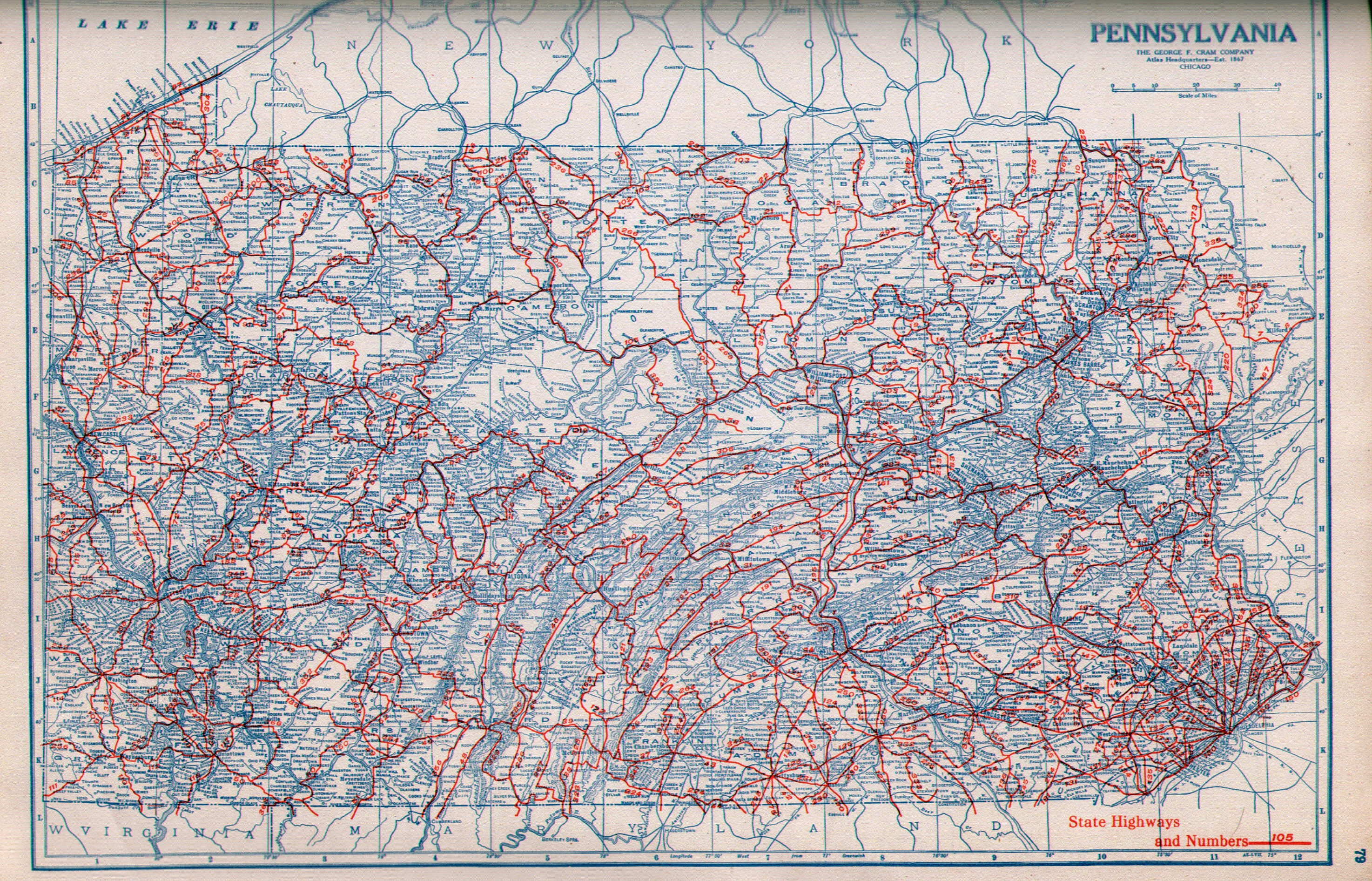 Pennsylvania In Old Road Atlases - Us map with route numbers