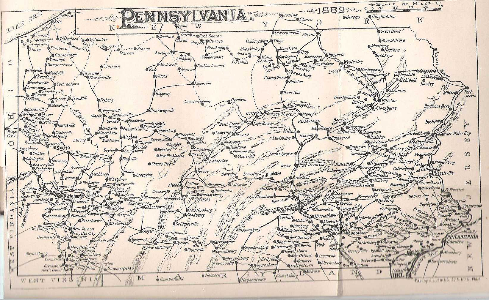Early Road Maps Of Pennsylvania - Map of pennsylvania