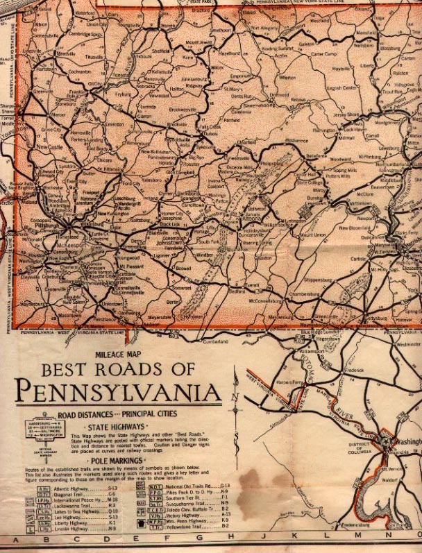the map is titled best roads of pennsylvania as the