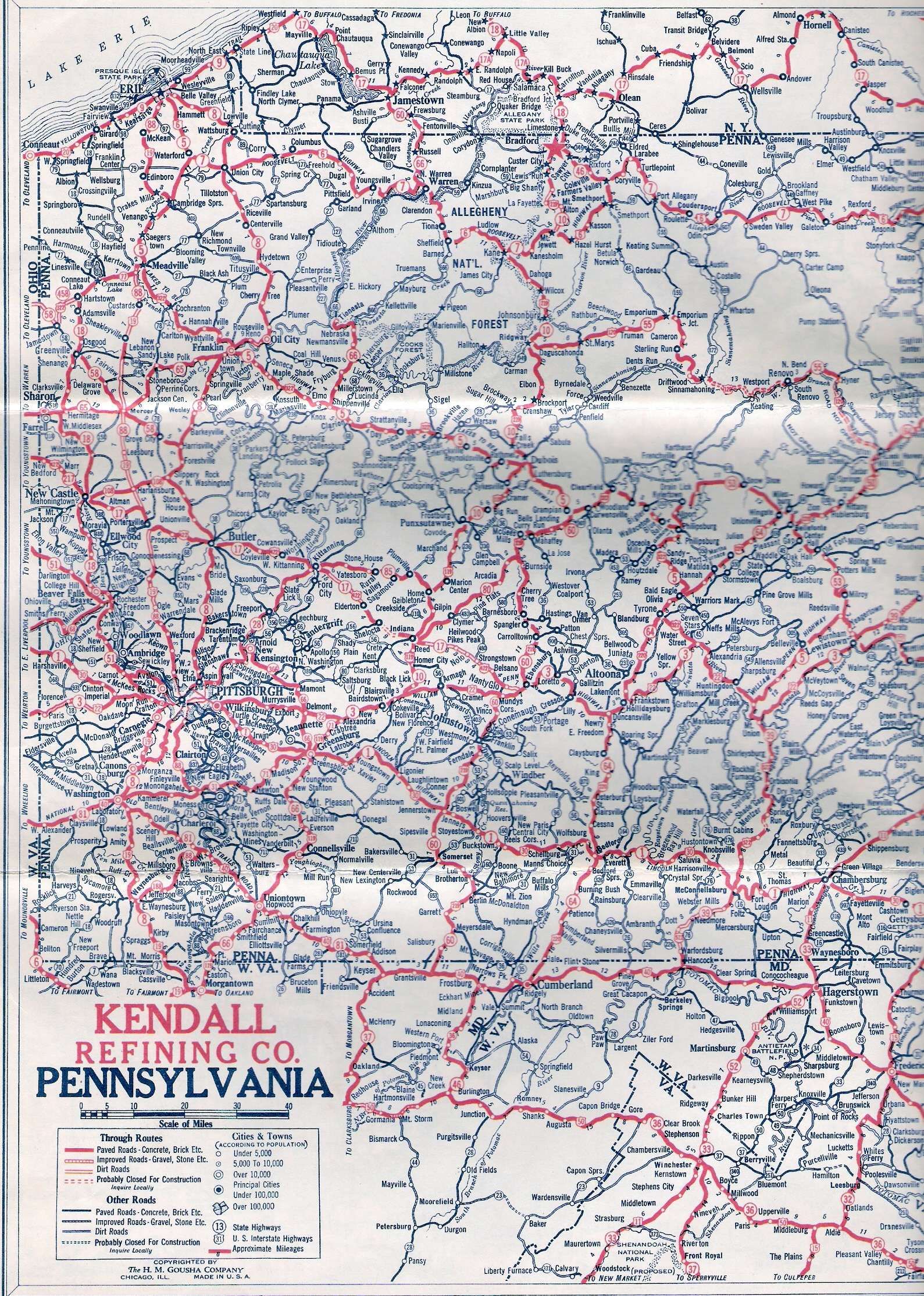 1920s Oil Company Road Maps of Pennsylvania