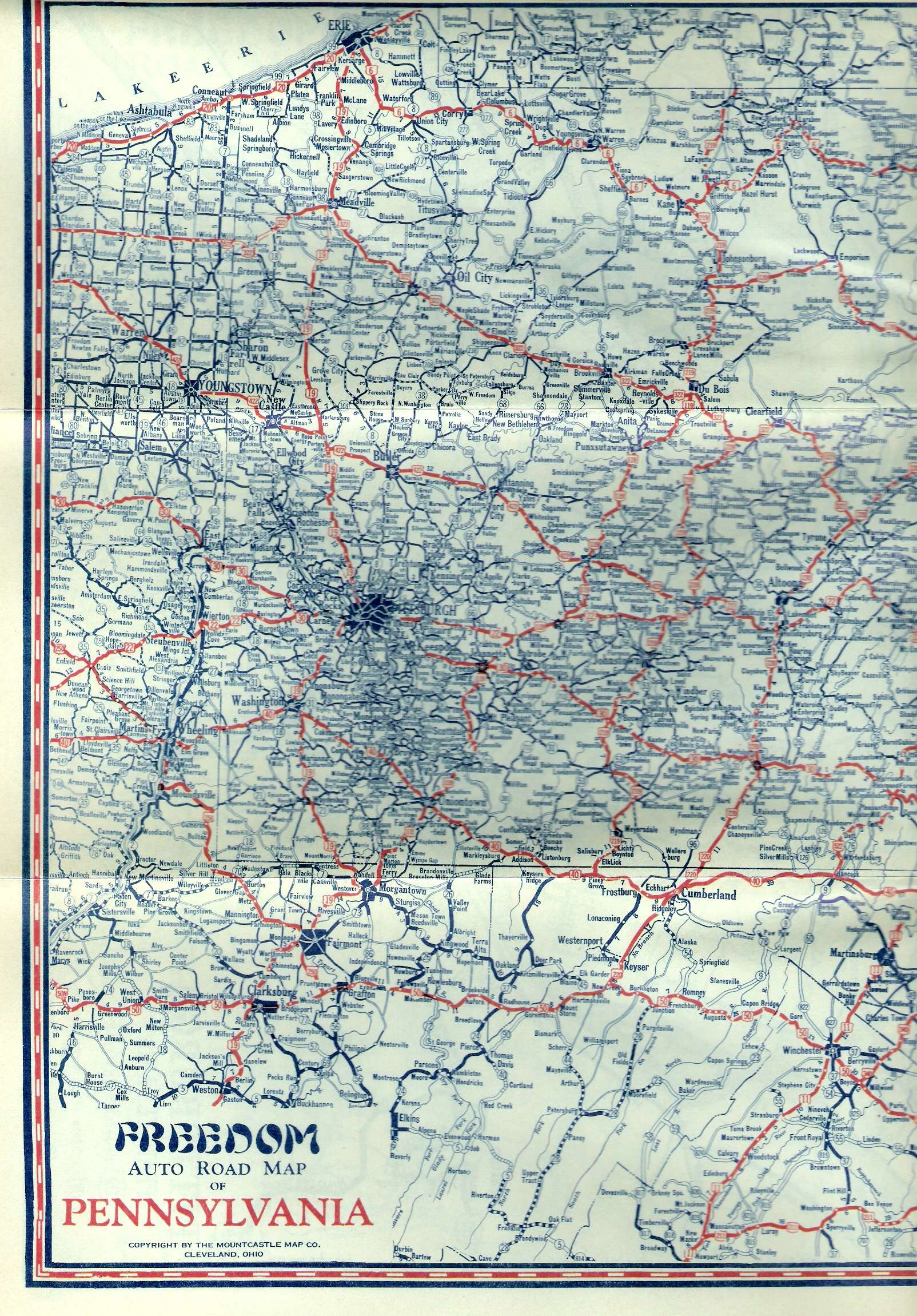 S Oil Company Road Maps Of Pennsylvania - Ohio roadmap