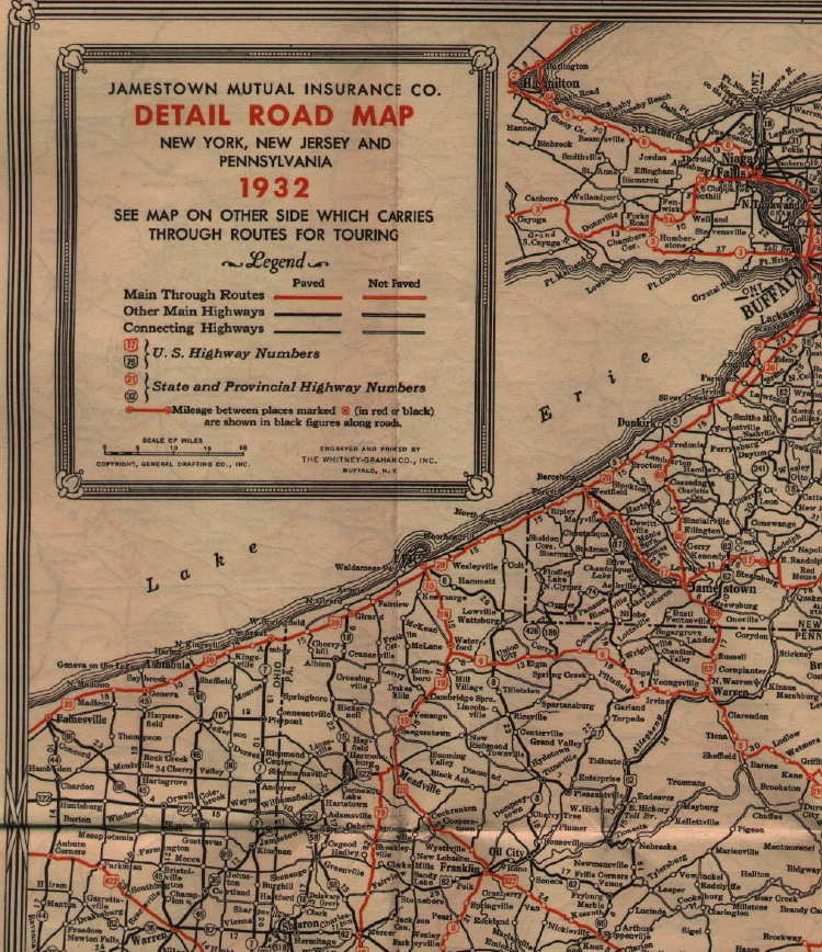 S Road Maps Of Pennsylvania - 1920s north eastern us map