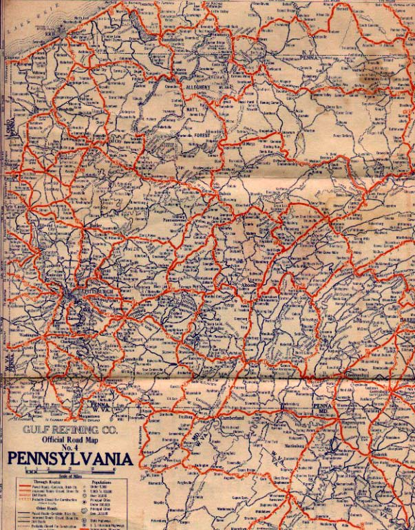 S Oil Company Road Maps Of Pennsylvania - Us map with route numbers