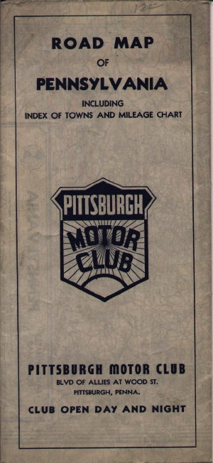 1938 ROAD MAP OF PENNSYLVANIA. The Pittsburgh Motor Club was the local branch of the AAA and is believed to be the successor to the Automobile Club of ...