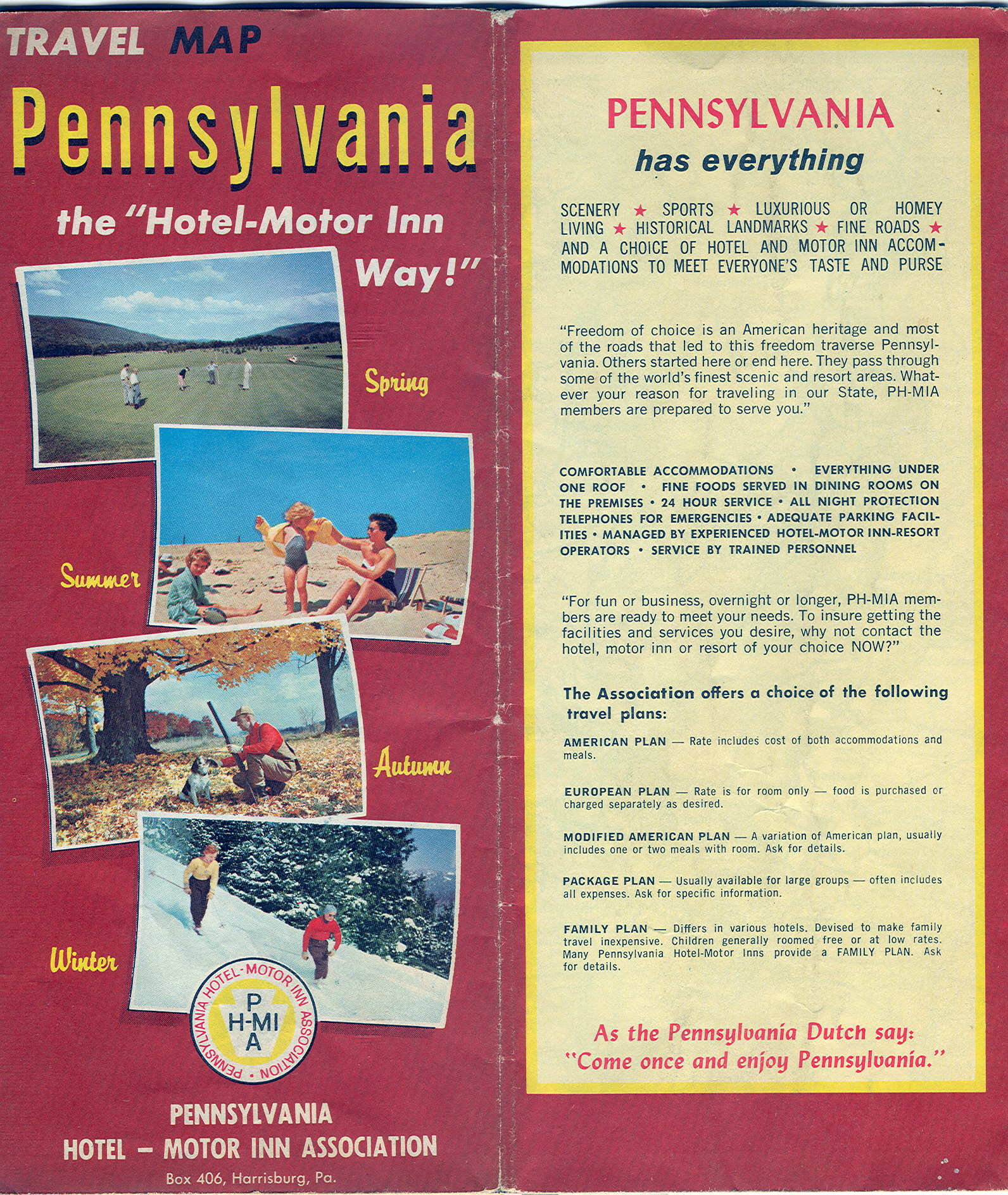 1967 Travel Map Pennsylvania Copyright The National Survey Chester Vt This Is An Ad Map Put Out By The Pennsylvania Hotel Motor Inn Ass Harrisburg